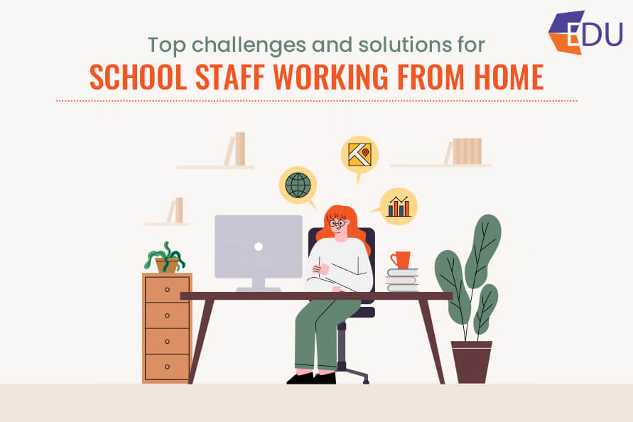 school staff working from home